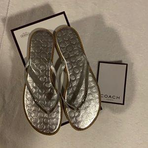Coach signature leather flip flops size 7.5